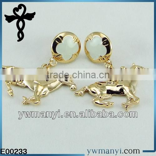 2014 new fashion ladies stud designs k gold polishing enamel Jockey jhumki style earrings in zinc alloy jewelry E00233