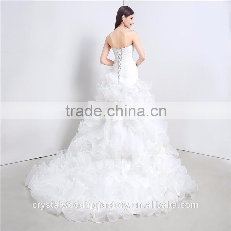 Mermaid Wedding Dresses Sweetheart Cascading Ruffles Cheap Vestido De Novia Court Train Bridal Gowns Dress LWA05