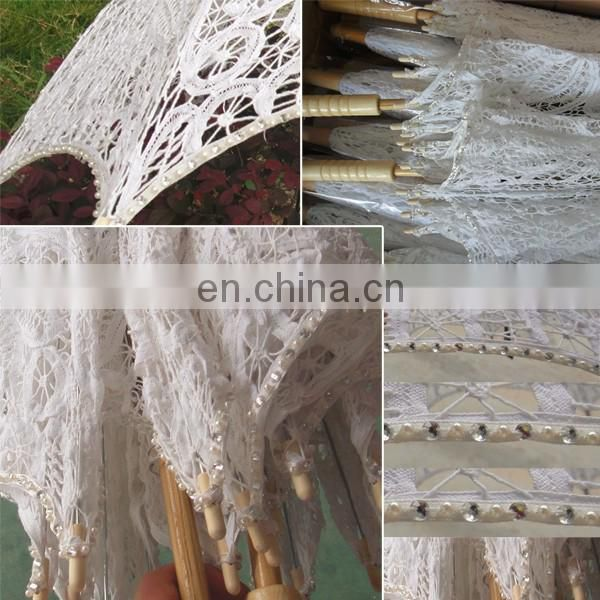 100% Cotton Battenburg Lace Wedding Parasol Embroidery Victorian Costume Accessory
