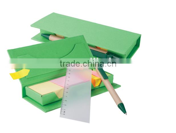 Hardcover box cover sticky note memo set with ruler and pens