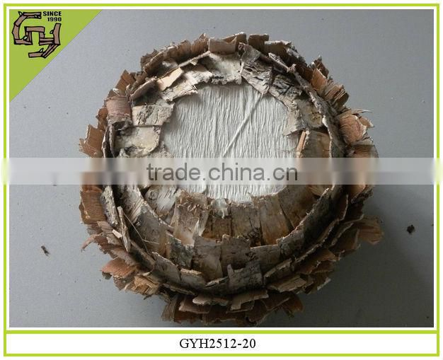 natural material flower pot decorative birch bark planter