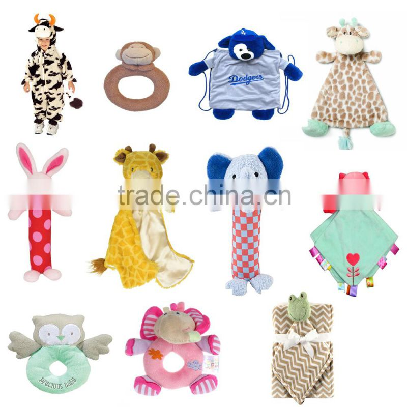 OEM and ODM plush stuffed animal decorative baby rattle