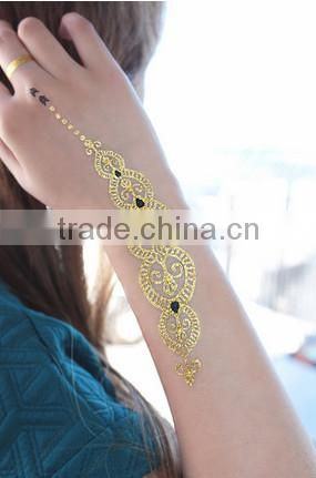 Hot Temporary Metallic Tattoo with Gold Silver Flash Inspired Jewelry
