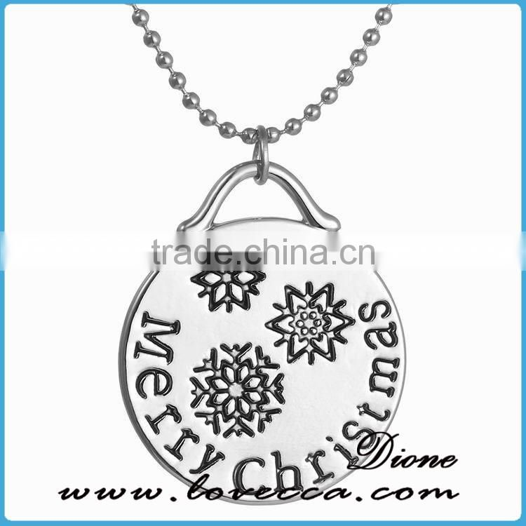 Christmas Snowflakes Deer Engrave Pendant necklace factory direct sale