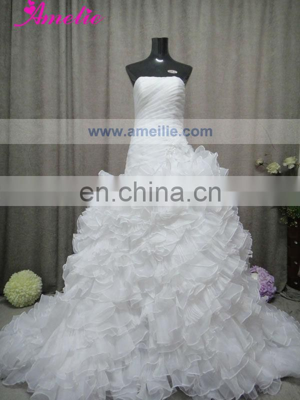 AC1034 Pleating And Ruffles Royal Blue and White Wedding Dresses