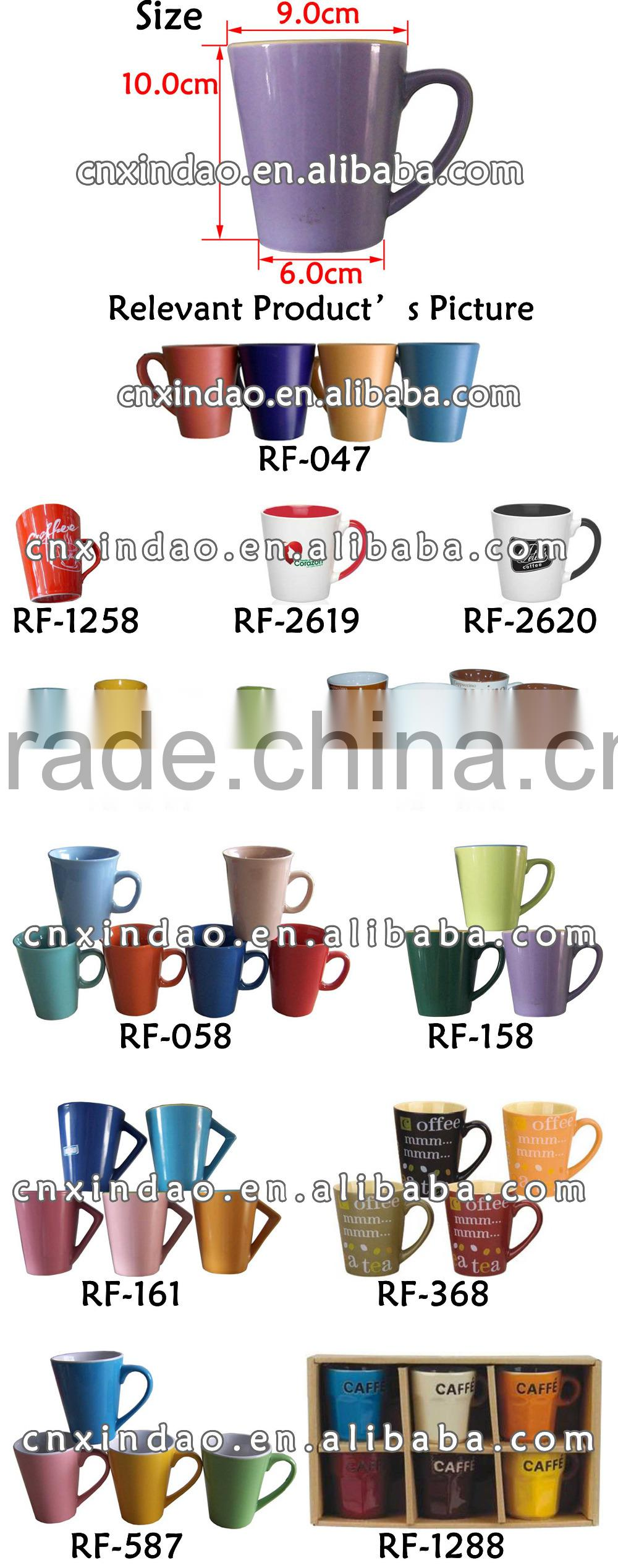 V Shape Personalized Colored Ceramic Traveling Cup for Beer Promotion Cup