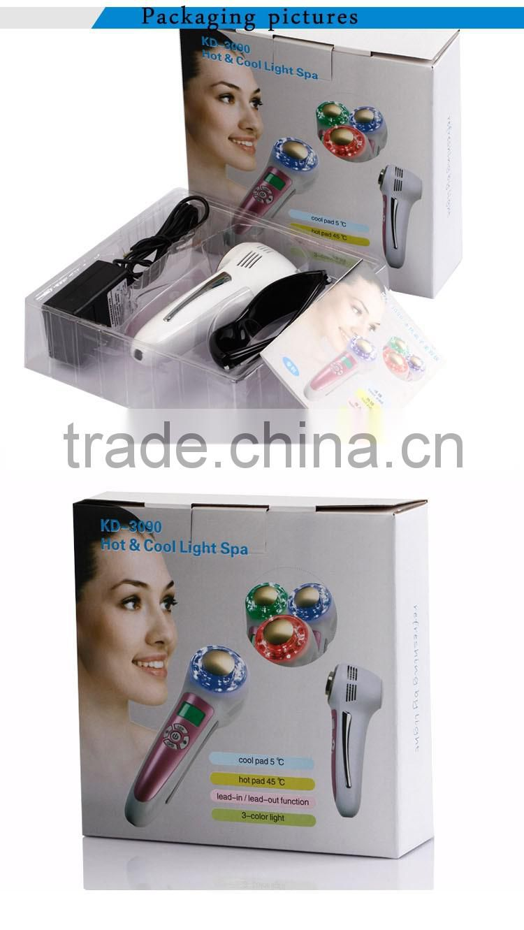 Home use 6 in 1 wrinkles acne removal hot and cold ion IPL facial beauty device