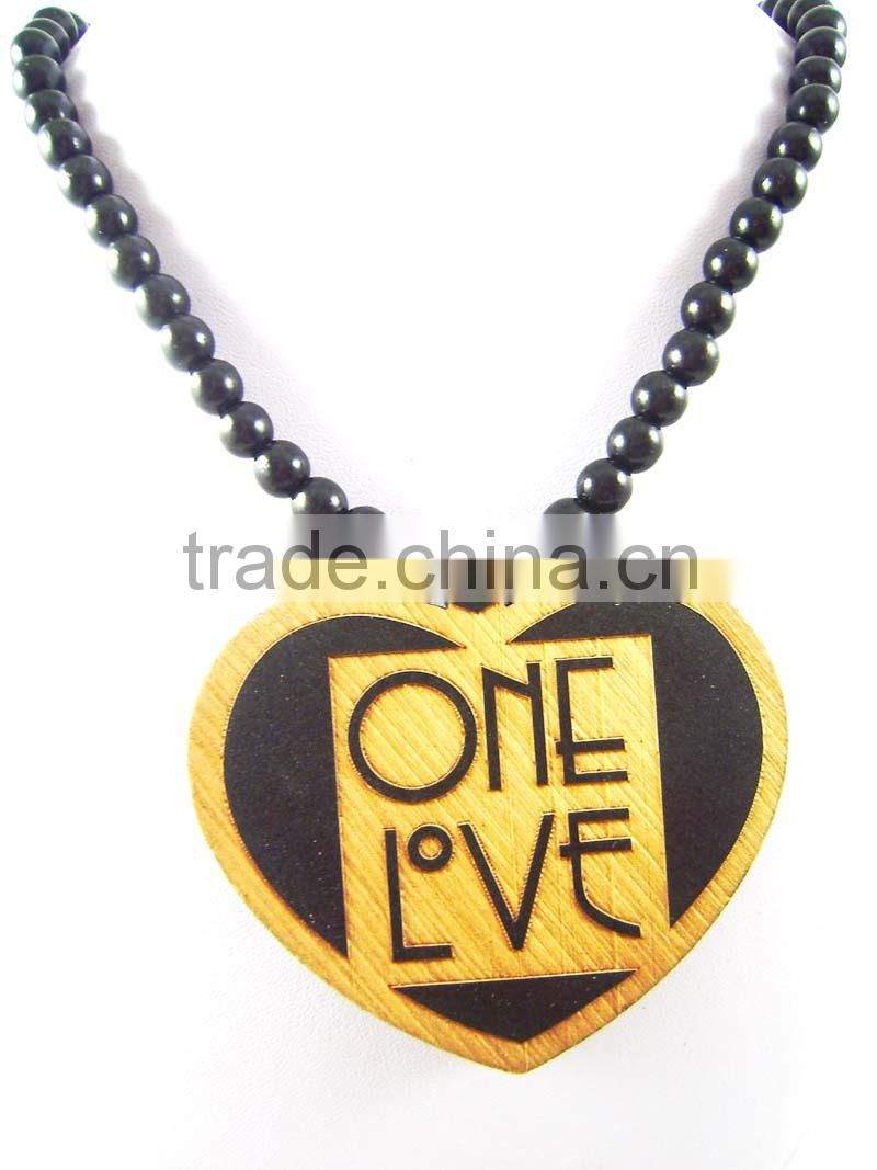 2015 custom wooden hip hop necklace