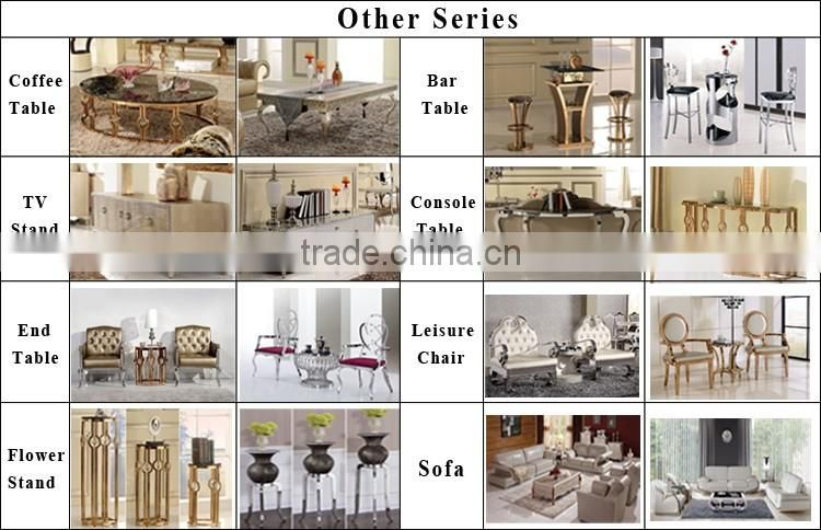 High quality lunxry modern stainless steel dinning table and chairs AH069