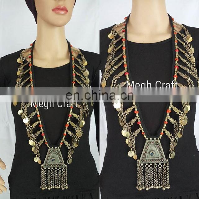 Afghanistan Kuchi Tribal Jewelry 1960s Vintage Beaded Kuchi Tribal old Coin Necklace - Afghani Ethnic Boho Gypsy Vintage set