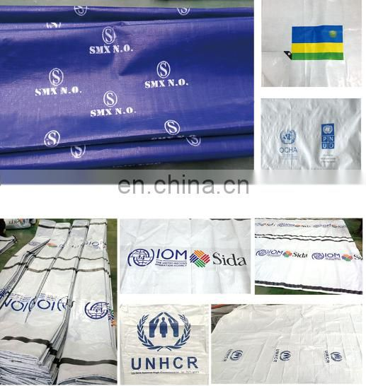 White PE taipaulin in with UN Printed UN logo