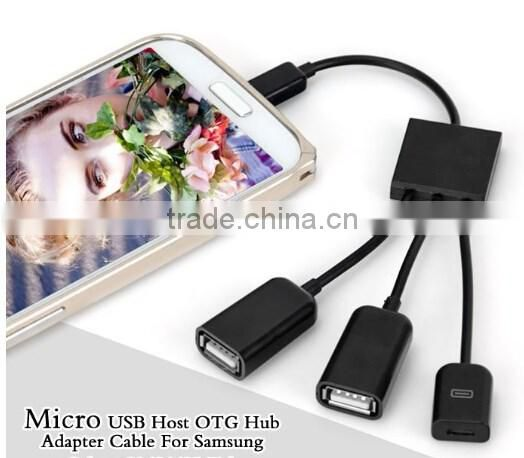 Dual Micro USB Host OTG Hub Adapter for Smartphones / usb adapter / OTG cable adapter