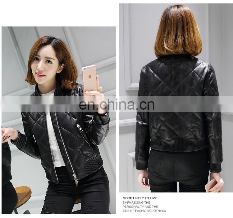 Ladies' Winter Genuine Leather Jacket quilted PU Leather Jacket bomerJacket Blazer