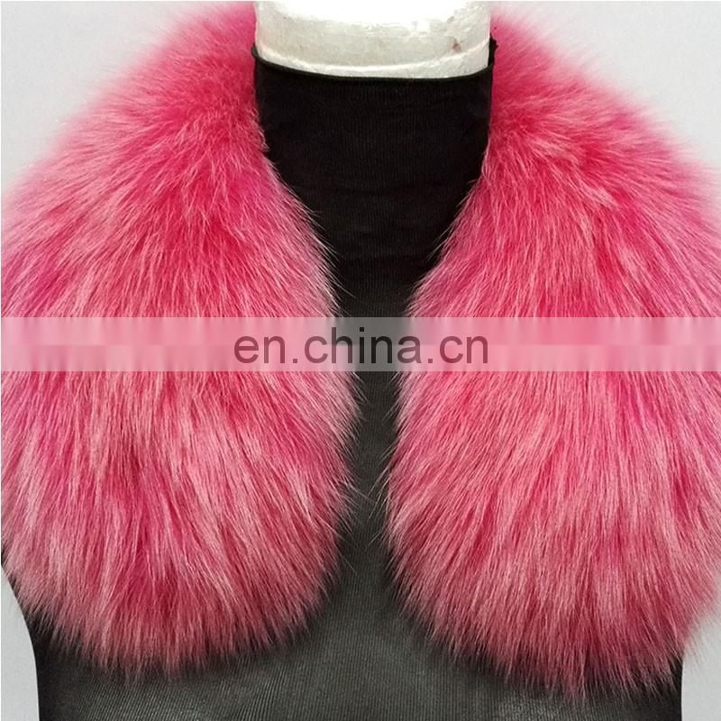 Solid color square fur collar real fox fur neck warmer for women
