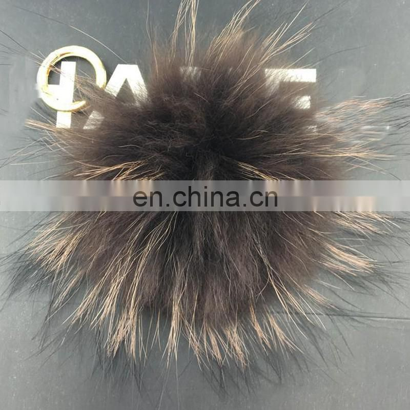 Custom size color solid color fluffy raccoon fur pompom keychain charm