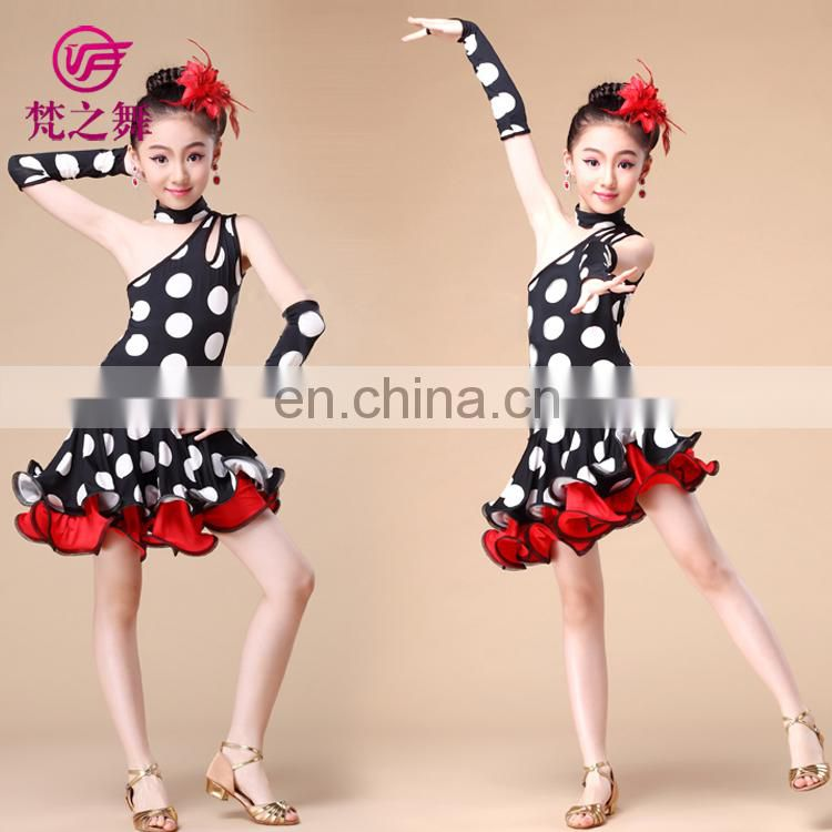 ET-079 Competition zebra and polka dots children latin dance dress with