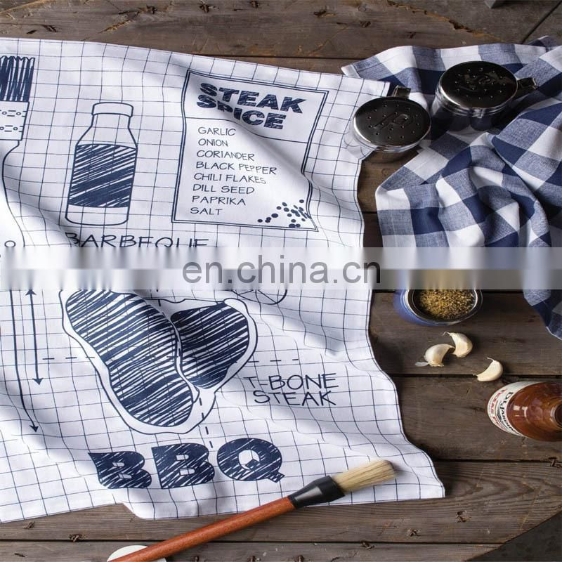 cotton printed kitchen tea towel 2 pack set