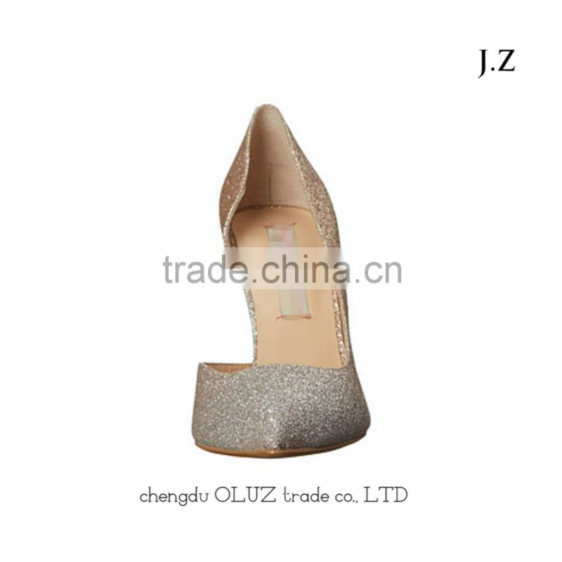 SP10 Sequined simple design pumps heels High heel pointy toe safety shoes Texturing pencil heel covered with upper dress shoes