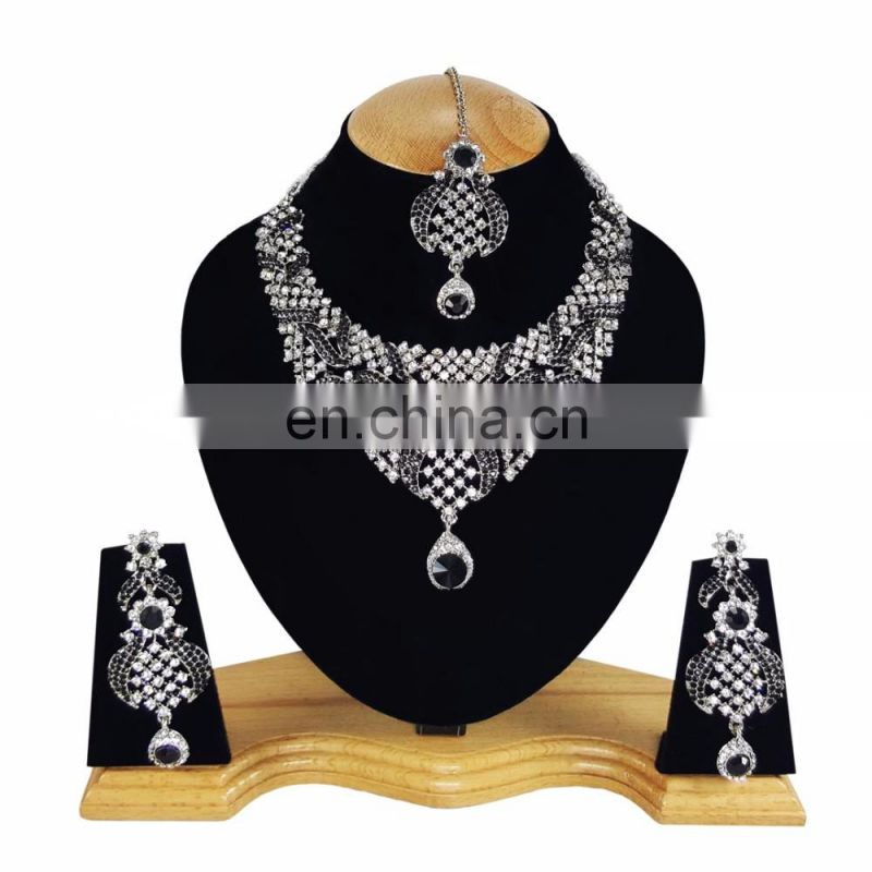Designer Silver Plated Indian Handmade Party wear Kundan Zerconic Necklace set Black Color