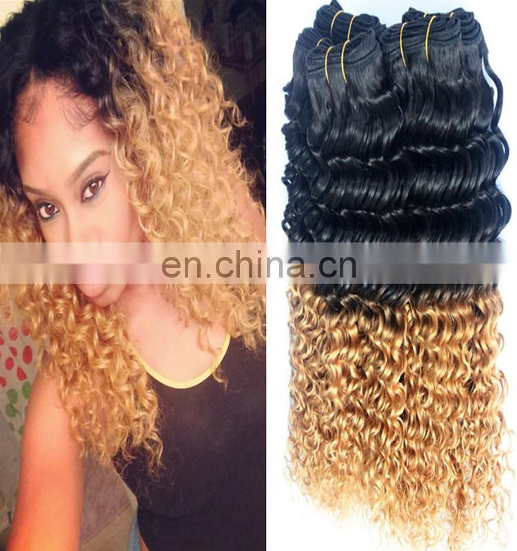 Ombre color T1b/27# deep wave Peruvian hair