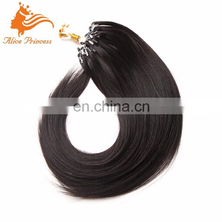 "12""-24"" Loops Micro Rings Beads Tipped Virgin Human Hair Extensions 1g/stand Peruvian Silky Straight Micro Ring Hair Extensions"