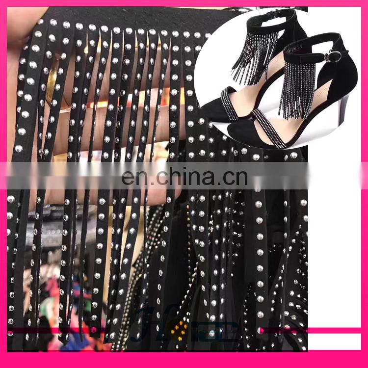 New fashion design suede leather fringe trim with rhinestones for shoe bag and garment