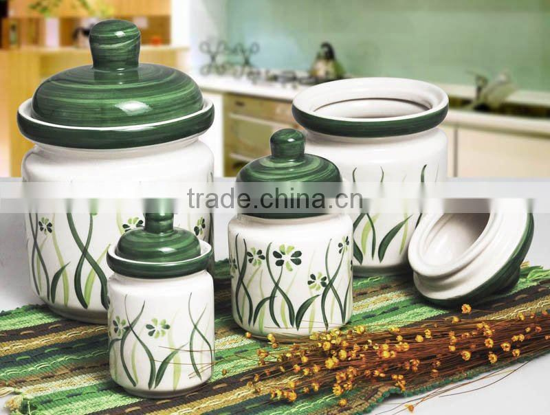 Ceramic Jar with Hand Painting