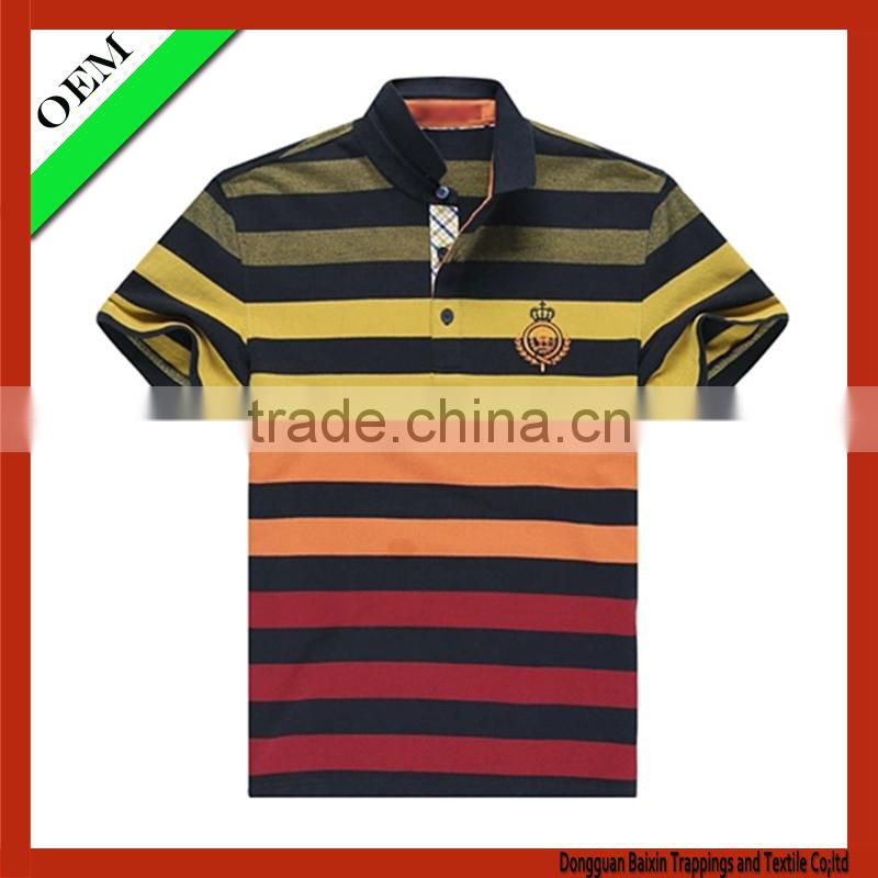 100% cotton polo t-shirt With Short Sleeve stripe polo t-shirt