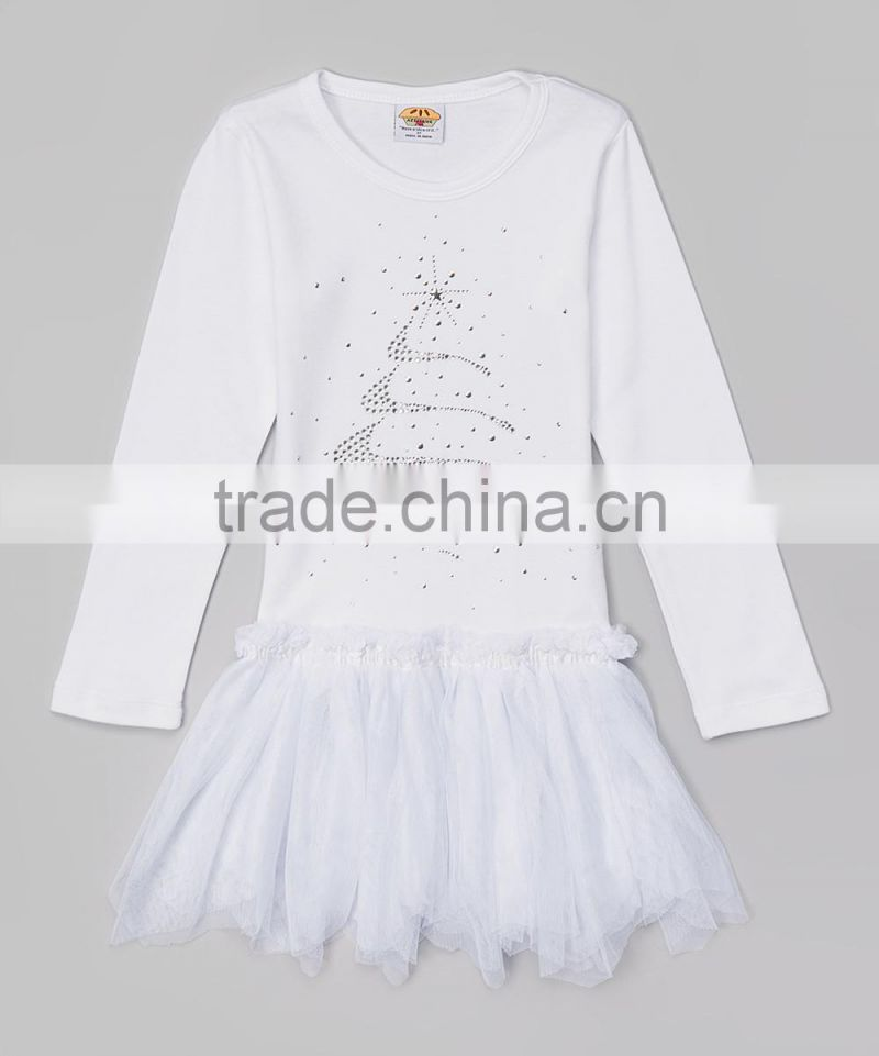 Hot Girl Tutu Dress With White Rhinestone Tree Toddler Dress Girls Clothing Z-TD80804-3