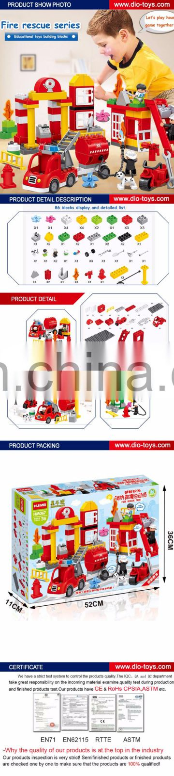 Wholesale kids learning 86pcs fire rescue building blocks