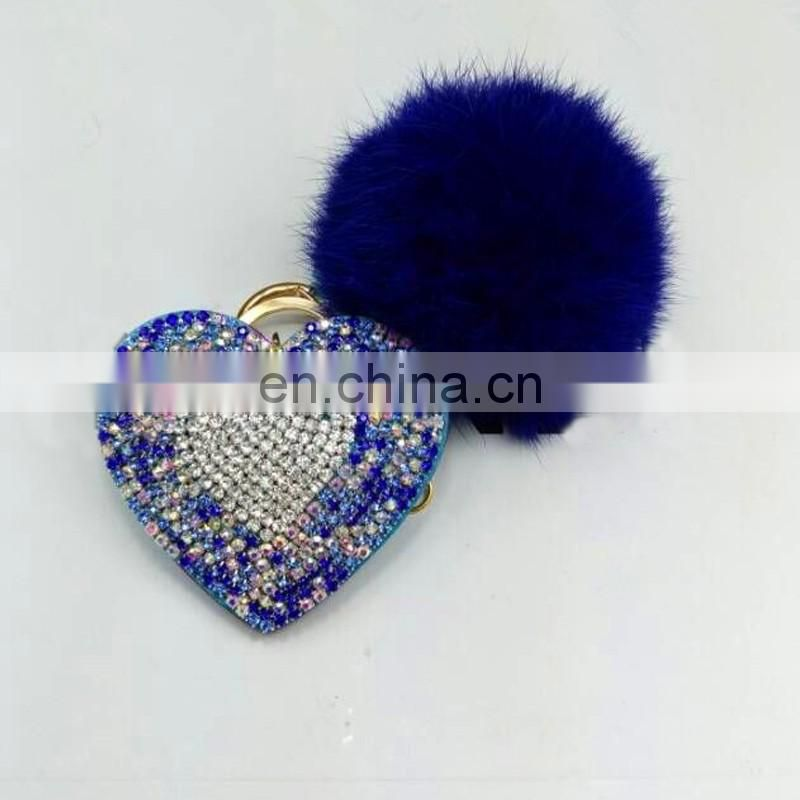 Genuine rabbit fur ball handmade fur bobble pendant with heart boutique