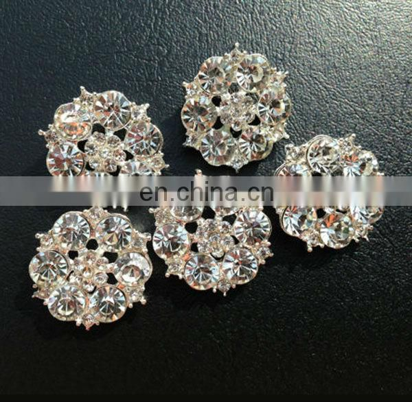 Bling hot sale flower rhinestone pearl button