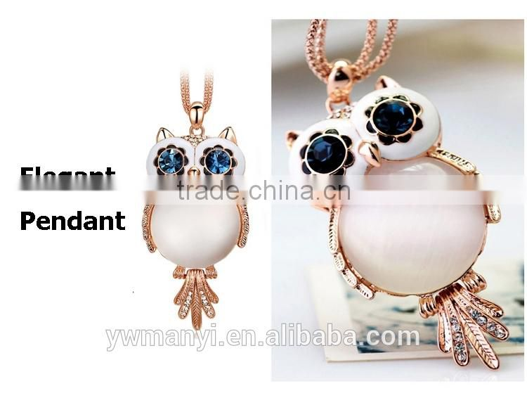 Fashionable design trendy jewelry opal owl pendant charm necklace P0005