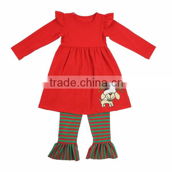 2016 Kaiyo Christmas kids clothes red fall boutique girl clothing ruffle set sweat suit