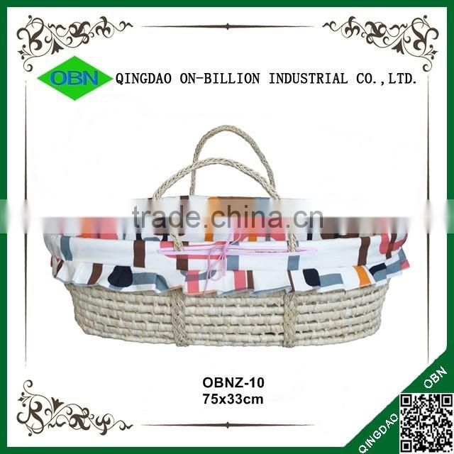Wholesale straw portable baby sleeping basket with braided handles