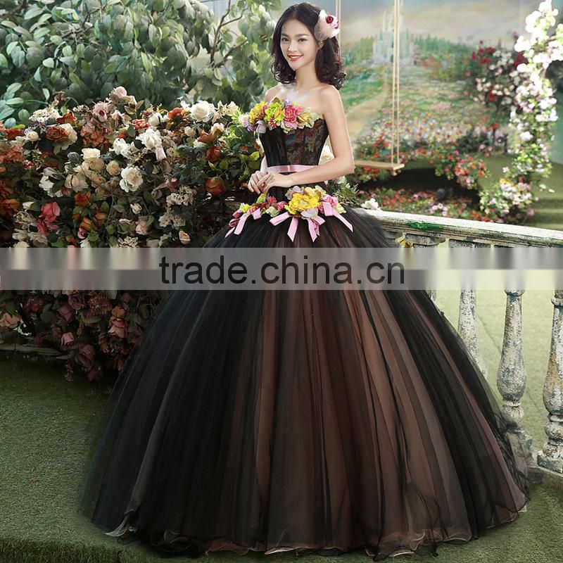 MGOO High End Black Puff Ball Prom Dress Beautiful Black Maxi Dress With Colorful Flowers Vestidos YDYS15B0018