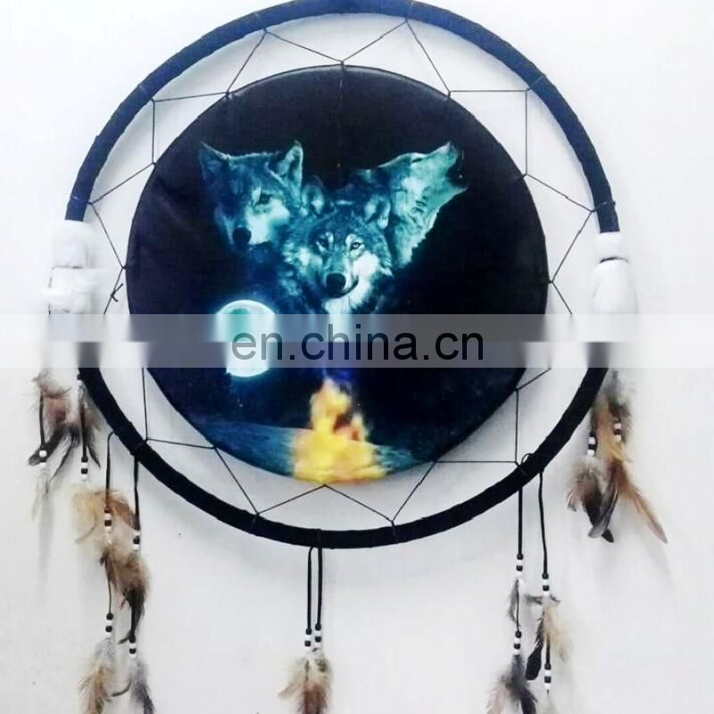 Handmade Traditional Original ~ Dream Catcher Wolf Design Campanula Ornaments With Feather for Garden, Kitchen, Bedroom