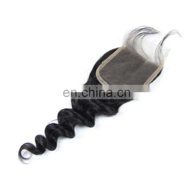 NO CHEMICAL PROCESS 100% brazilian human virgin 9A hair lace closure in loose wave CUTICLE ALIGNED hair