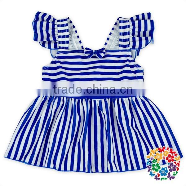Blue White Stripe Flutter Sleeveless Baby Clothes Summer Outfit Girls Summer Boutique Outfits