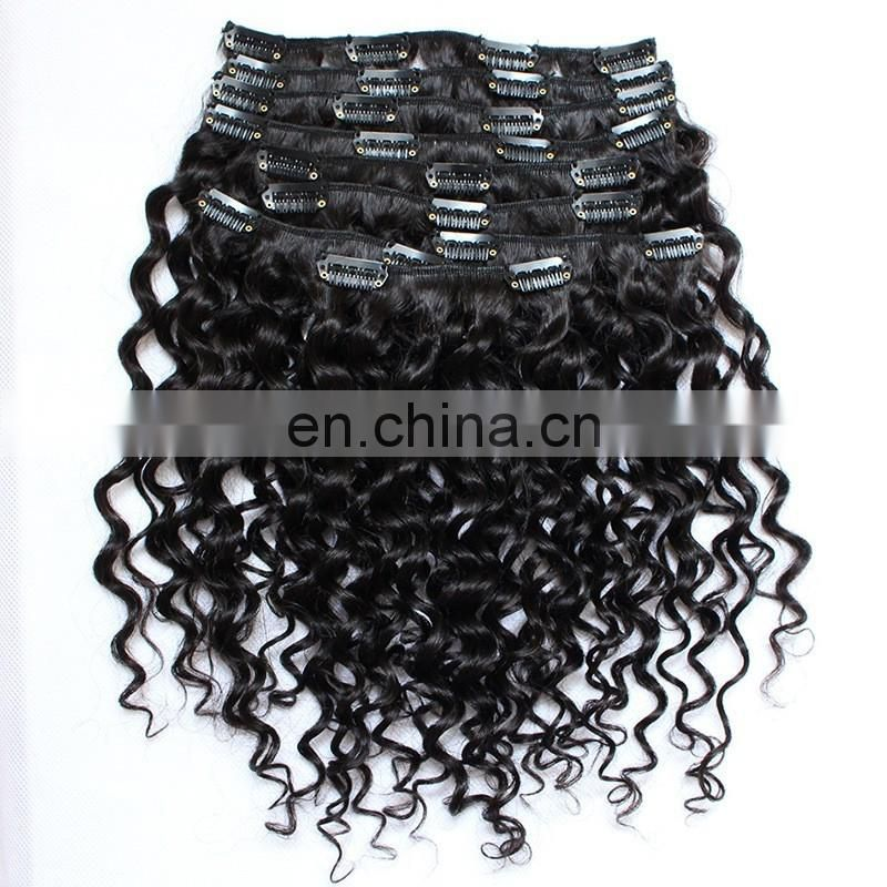 Mongolian straight hair kinky curl natural color clip in hair