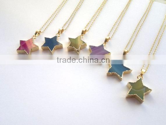 Agate Star Necklace ,Agate Necklace, Agate Jewelry ,Star Jewelry ,Pink/Blue Star Necklace