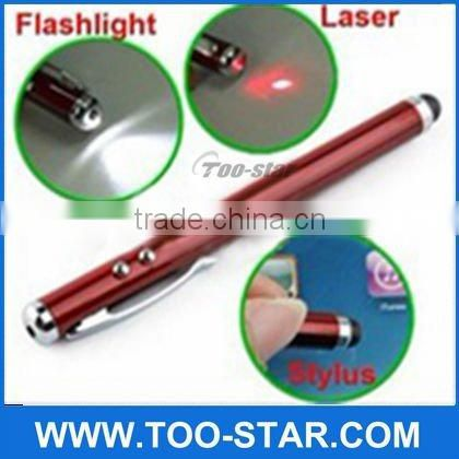 Universal 3 in 1 capacitive touch screen stylus pen with laser pointer and flashlight