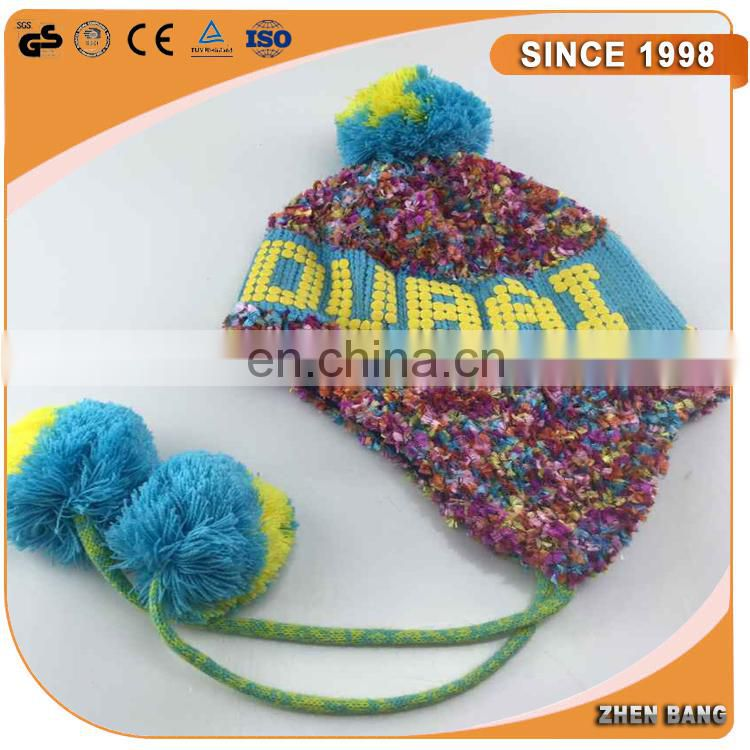 Best Selling Cute earflap soft hand made pom pom knitted beanie baby knit hats braid