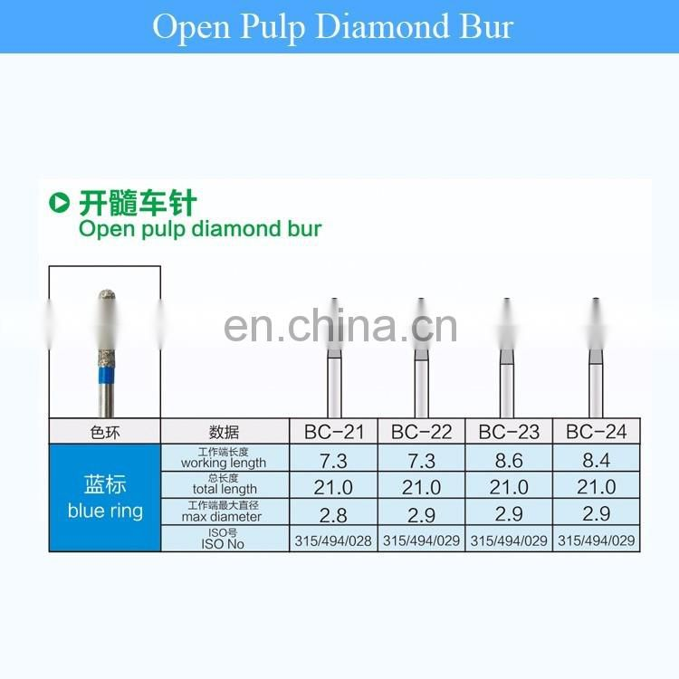 High quality Dental Diamond burs compatible with mani diamond bur