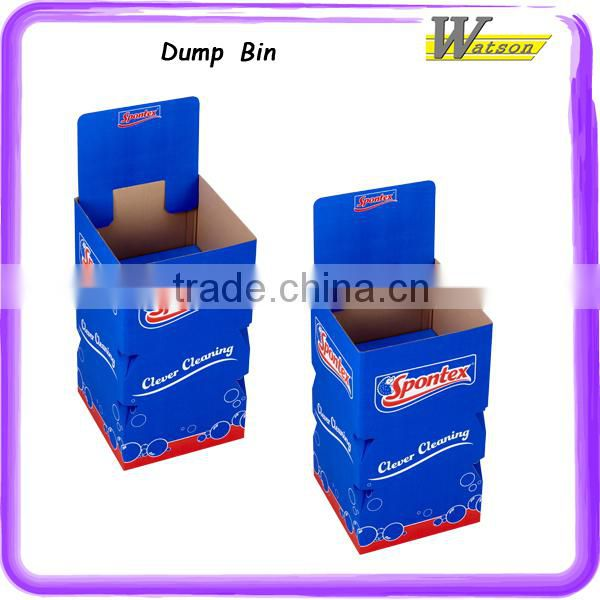 hot sale promotion advertising cardboard display dump bin for rubber bath duck eco friendly pvc material