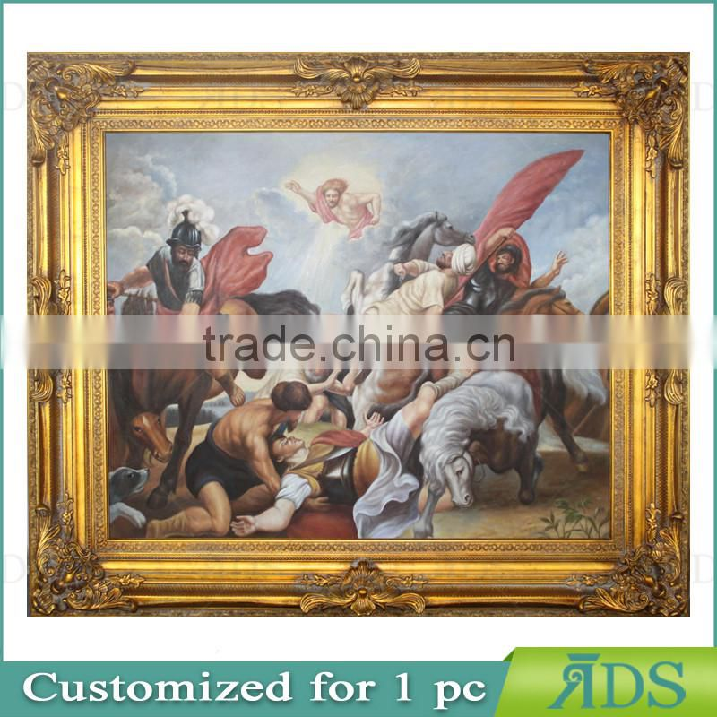 European Style Antique Gold Photo Frame with Handmade Oil Painting