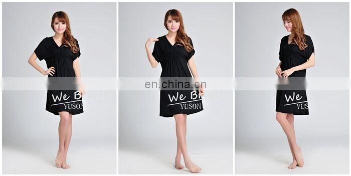 Ladies Bambus High Waist One-piece Summer V-neck Dress Short-sleeves with Tighten Front and Back