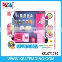 Girl play toys plastic kitchen appliances with doll for sale
