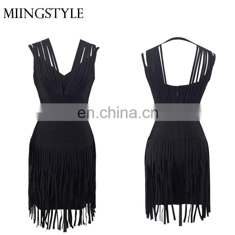 Oem fashion dress women clothing rayon one piece short dress , sexy bandage dresses for woman
