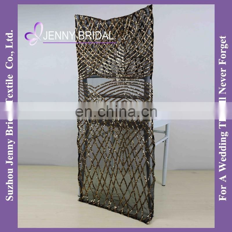 C441A black and gold sequin fabric polyester chemical lace sequin chair cover